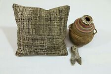 """16.5"""" Handmade Natural Cushion Cover One-of-a-Kind Vintage Pillow Case Brown Eco"""