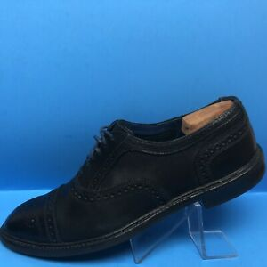 "Allen Edmonds ""Strandmok"" Oxfords 12.5 M Black With Blue Interior And Laces $345"