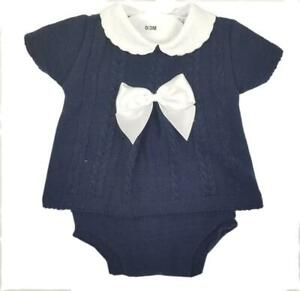 Baby Boy Knitted Spanish Romany Style 2 piece set top jam pant Navy 0-3 3-6 6-9