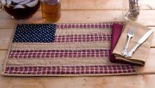 Patriotic Patch Quited Placemat Set of 6 Flag Americana Plaid Primitive Cotton