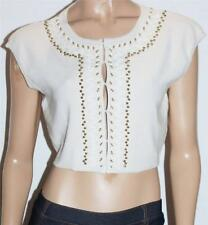 JACQUI-E Brand Cream Knit Beaded Bolero Shrug Jacket Size M BNWT [sg105]