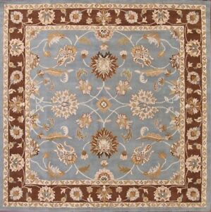 New Classic Floral Light Blue/Brown Square 10x10 Oushak Agra Oriental Area Rug