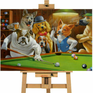 Dogs Playing Pool Hustler Wall Art Canvas Print On A Frame