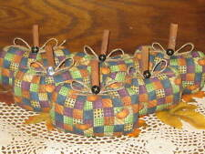 6 Patchwork Fabric Pumpkins Bowl Fillers Country Fall Decor Wreath Accents