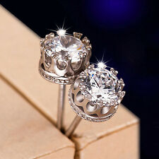 Cute Crown Earring 925 Sterling Silver Simulated Diamond Women Princess Ear Stud