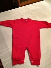 Red Fleece One-Piece Long Sleeve Romper - Size 12 months