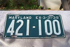 1938 / 39  MARYLAND LICENSE PLATE - Other Plates for sale !!!