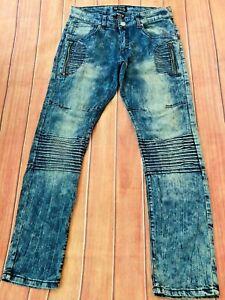 "Men's Brooklyn Xpress Moto Jeans Zippers Size 30"" x 30"" Measure 31"" x 29.5"""