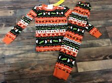 Gymboree Halloween Fair Isle Ghost Spider Pjs Black Orange Boys Nwt Size 10