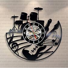 CD Vinyl Record Wall Clock Modern Design Musical Theme Decor Black Art Watch