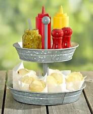 Galvanized Serving Trays` 2-Tier Trays For Indoor Outdoor Kitchen Tabletop Use