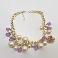 Matte Gold Tone & Faux Pearl Purple Bead Necklace