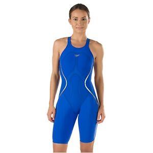 NWT — Womens 27 — Speedo Fastskin LZR Racer X Open Back Kneeskin — Speedo Blue