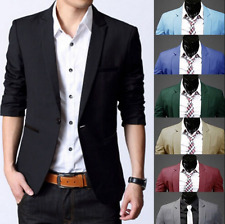 Mens Casual Slim Fit One Button Suit Blazer Coat Jacket Tops Wedding Formal Plus