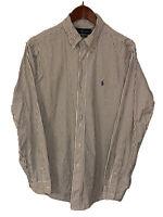 Men's Polo Ralph Lauren Navy Stripe Button Down Shirt Size Large L/S Oxford