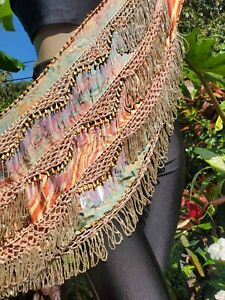 Egyptian Bellydance Belly Dance Bellydancing Beige Hip scarf beaded no coin 896