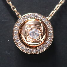 Rose Moissanite Halo Pendant Chain Necklace 14k Yellow Gold Plate Jewelry 18""