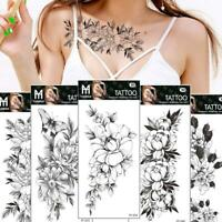 Art Sticker Waterproof Temporary Tattoo Black Sketch Rose Cool Fake Nice J0V8