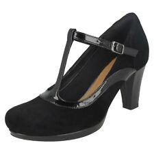 Ladies Clarks T-bar Smart Courts Shoes Chorus Pitch Black Combi UK 7.5 D