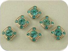 2 Hole Beads Crystal GALA Aquamarine Swarovski Crystal Elements ~ Sliders QTY 6