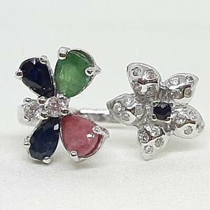 1.80ct Emerald, Ruby, Sapphire & Diamond Cut White Sapphire 925 Silver Ring SZ 8