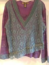 New Designer size XL BoHo Lace V Neck Purple Plum Long Sleeve Warm Knit Top