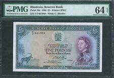 RHODESIA £5 12th Nov 1964 P26a PMG 64 EPQ Choice Uncirculated