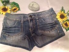 Juniors Decree Stretch Distressed Denim Jean Shorts Sz 0 XS 28 Double Stitching