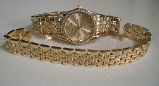 Men's gold finish dressy/casual wear fashion wrist watch & bracelet set