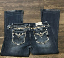 Miss Me Jeans Mid Rise Easy Boot Bling Embellished Plus Size 34X29