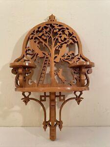 Vintage Folk Art Stencil Cut Half Round Ornate Wood Wall Shelf 3 platform