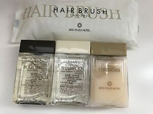 New Japan Keio Plaza TRAVEL Set by SHISEIDO~Shower Gel/Shampoo/Conditioner+Brush