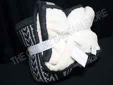 Pottery Barn Christmas Holiday Martin Fair Isle Cozy Knit Throw Blanket Gray