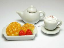 Dollhouse Miniature Waffles with Coffee Cup * Mini Food Teapot Plate Tiny Saucer