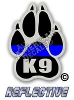 "2- Thin Blue Line Decals 2"" inch TBL PAW Reflective Sticker Thin Blue Line (K9)"