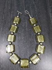 """18"""" Green Foil Art Glass & Pearl Necklace, Fancy Sterling Silver Clasp A2"""