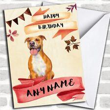 Watercolour Rustic Dog Pitbull Personalized Birthday Card