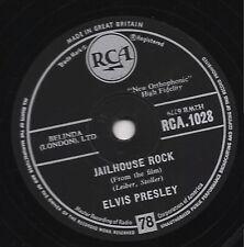 CLASSIC 1957 UK#1 ELVIS PRESLEY 78 JAILHOUSE ROCK / TREAT ME NICE RCA 1028 E-/V+