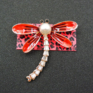 Charm Animal Red Enamel Cute Pearl Dragonfly Betsey Johnson Brooch Pin