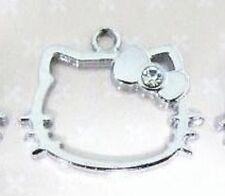 10 Silver Plated Crystal Rhinestone Charm/Pandent/Bracelet/Bead-Kitty Cat Bow K6