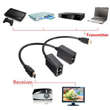 New HDMI Over RJ45 CAT6 CAT5e Cable LAN Ethernet Extender Repeater 3D up to 30M