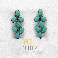 Earrings Nails Golden Resin Faceted Blue Green Sheet Retro YW9