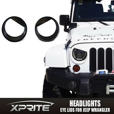 Black Bezels Front Light Headlight Angry Birds Style 07-17 Jeep Wrangler JK