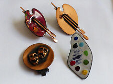 VTG Mixed lot Art Mask Matisse Renoir Signed Copper metal Enamel Clip Earrings