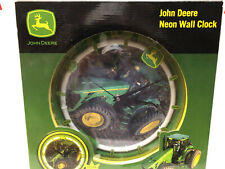 JOHN DEERE NEON WALL CLOCK YELLOW NEON GLOW TRACTOR NIB