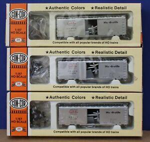 Con-Cor HO D&RGW Rio Grande Cookie Box PS-1 Boxcar Kit Silver 3 pack Diff #s NIB