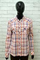 TOMMY HILFIGER Slim Fit Camicia Donna Maglia Shirt Camicetta a Quadri Taglia L