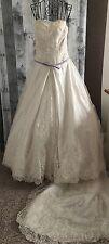 Brushed Satin Sequin Beaded Lace Wedding Bridal Gown Dress Purple Trim Medium