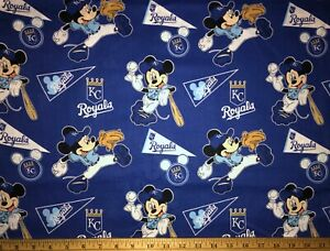 NEW MLB COTTON Fabric 1/4 yard=9inX44in KANSAS CITY ROYALS MICKEY MOUSE DIY MASK