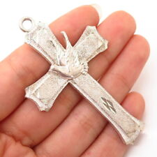 925 Sterling Silver Dove Of Peace Design Large Cross Pendant
